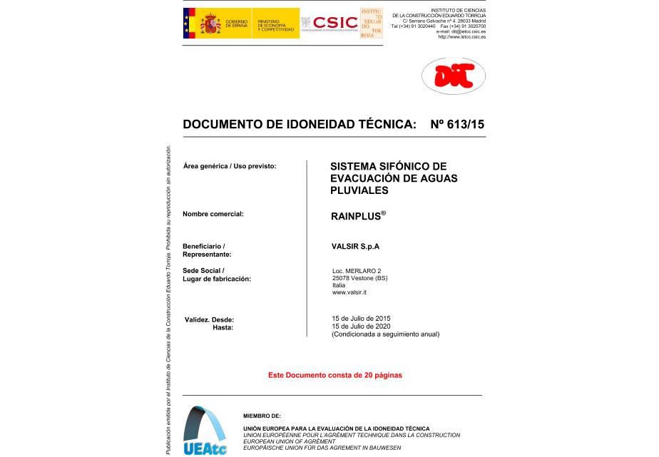 Recorte documento de Idoneidad técnica de Sistema Rainplus